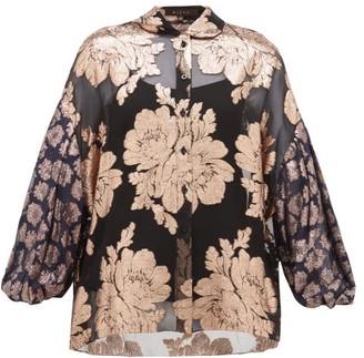 Biyan Syalendra Metallic Floral Silk-chiffon Blouse - Womens - Black Navy