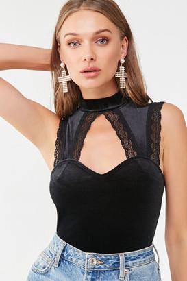 Forever 21 Velvet Lace-Trim Bodysuit