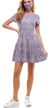 BeBop Juniors' Tie-Dyed Tiered Dress & Reversible Face Mask