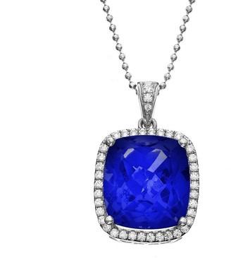 Isla Simone Platinum Plated Silver Large Cushion Cut Gemstone Pave CZ Pendant Necklace