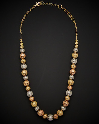 Italian Gold 14K Tri-Tone Diamond Cut Ball Necklace