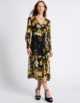 Marks and Spencer Floral Print Long Sleeve Midi Dress