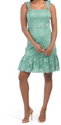 Ruffle Shoulder Lace Dress
