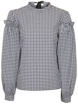 Petite gingham mutton sleeve top