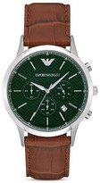 Emporio Armani Green Stainless Steel Brown Strap Watch, 43mm