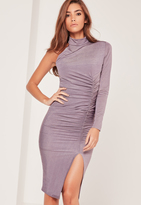 Missguided Purple One Shoulder Ruched Slinky Midi Dress