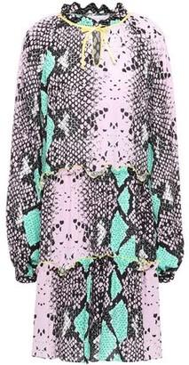 Stella Jean Gathered Snake-print Crepe Dress