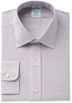 Brooks Brothers Men's Milano Slim-Fit Non-Iron Brown Micro-Check Dress Shirt