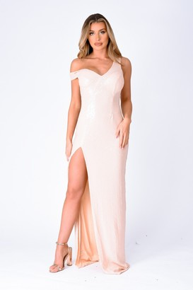 NAZZ COLLECTION Marilyn Champagne Sequin Off The Shoulder Maxi Slit Dress