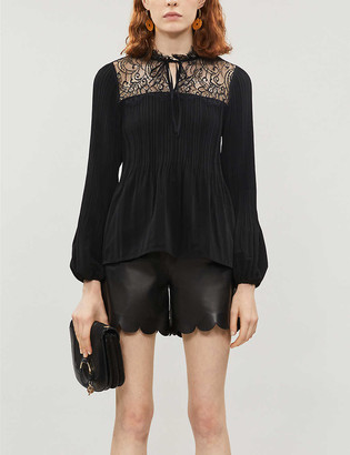 Maje Lace-trimmed crepe blouse