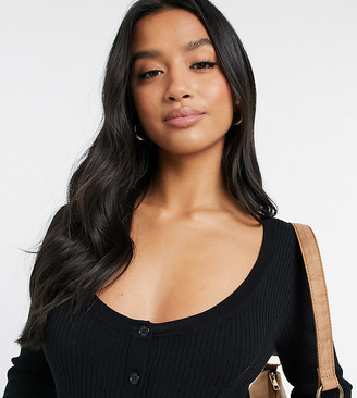 ASOS DESIGN Petite knitted body with button front detail in black