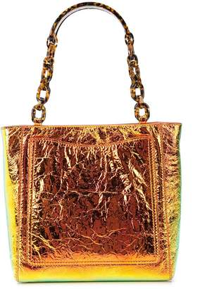 Edie Parker metallic chain strap tote bag