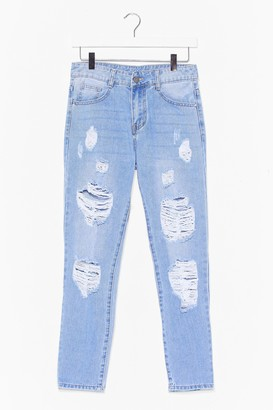 Nasty Gal Womens No Wash If's Distressed Mom Jeans - Light Blue
