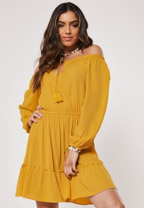 Missguided Mustard Bardot Tassel Skater Dress