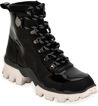 Moncler Helis Stivale Leather Lace-Up Hiking Combat Boots