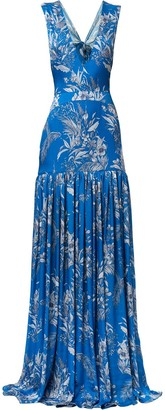Alexis Belaya floral pleated gown