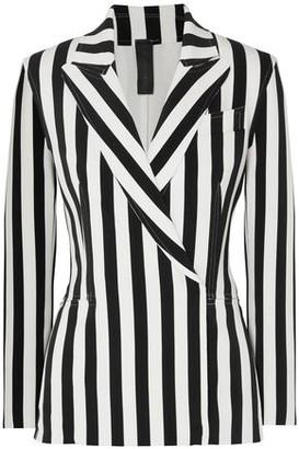 Norma Kamali Double-breasted Striped Stretch-jersey Blazer