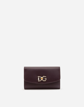 Dolce & Gabbana Dauphine Calfskin Mini Bag With Rhinestone-Detailed Logo
