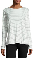 Current/Elliott The Long-Sleeve Boyfriend T-Shirt, Dirty White Runaway Stripe