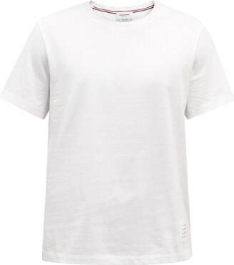 Thom Browne Tricolour-stripe Cotton T-shirt - White