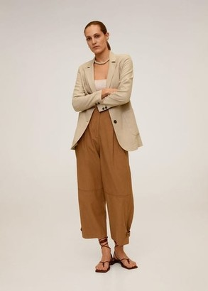 MANGO Buttoned soft blazer beige - XS - Women