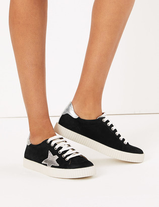 Marks and Spencer Suede Lace Up Star Trainers