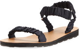 The Row Egon Ruched Nylon Flat Sandal, Navy