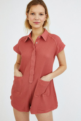 Urban Outfitters Mollie Thermal Knit Button-Front Romper