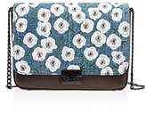 Loeffler Randall Lock Woven Embroidery Denim and Leather Shoulder Bag