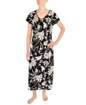 Sesoire Lace-Trim Floral-Print Long Nightgown