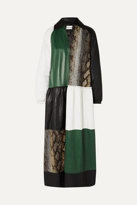 Stand Studio Gilda Paneled Leather Maxi Dress - Snake print