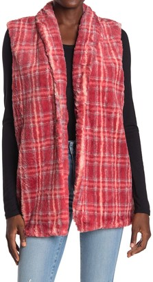 Bobeau Faux Fur Plaid Vest
