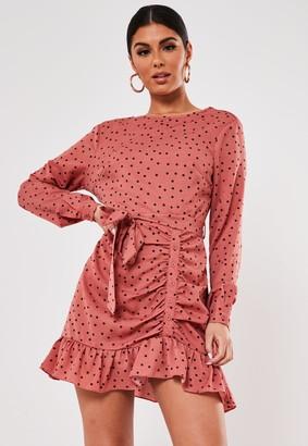 Missguided Blush Polka Dot Ruched Side Tea Dress
