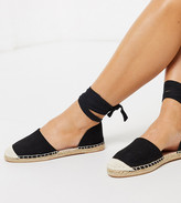 London Rebel wide fit two part flat espadrilles in black