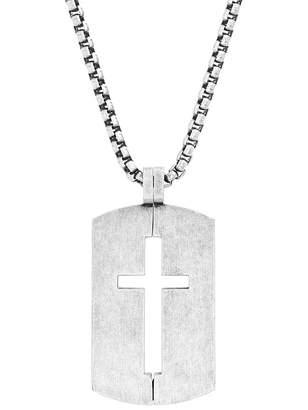 Steve Madden Cutout Cross Dog Tag Box Chain Necklace
