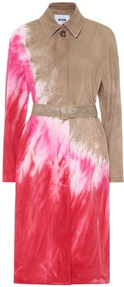 MSGM Tie-dye cotton-twill trench coat