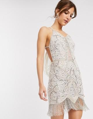 ASOS DESIGN mini dress fringe embellished mini with pearl drape back