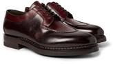 Santoni Split-Toe Burnished-Leather Derby Shoes