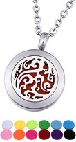 QX Aromatherapy Essential Oil Diffuser Necklace/ Magnetic Pattern Interlocking/ Stainless steel Circular Hollow/ / Openable Aromatic Suspension 20mm