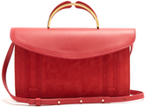 Mansur Gavriel Satchel leather and suede top-handle clutch