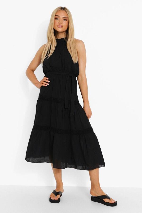 Thumbnail for your product : boohoo Crochet Trim Halterneck Cotton Maxi Dress