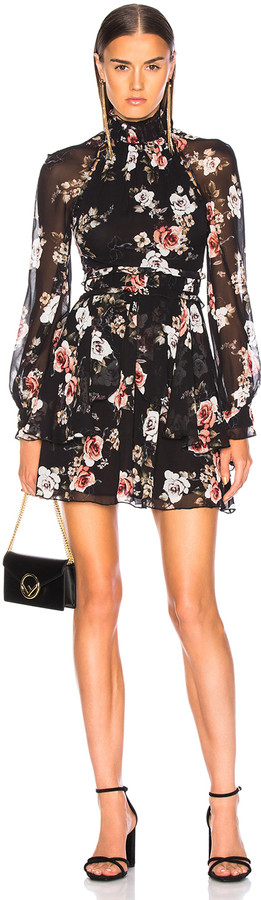 Nicholas High Neck Mini Dress in Black Rose | FWRD