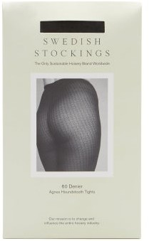 Swedish Stockings - Agnes Houndstooth 60-denier Tights - Black Grey