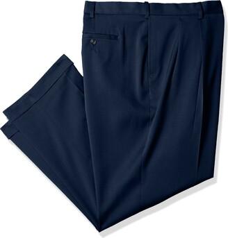 Savane Men's Big & Tall Pleated Stretch Crosshatch Dress Pant