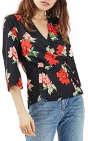 Topshop Women's Rita Floral Wrap Top