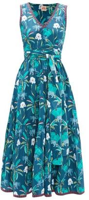 Le Sirenuse Le Sirenuse, Positano - Evelin Tiger Coconut-print Cotton Midi Dress - Womens - Navy Print