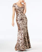 Calvin Klein Sequined Swirl Cold-Shoulder Gown
