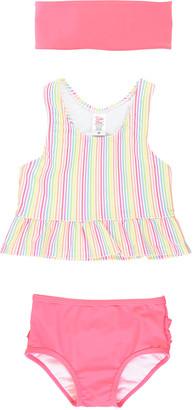 RuffleButts Girl's Rainbow Stripe Tankini w/ Matching Headband, Size 3M-10