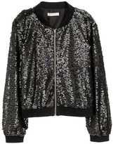 H&M H&M+ Sequined Bomber Jacket - Black - Ladies