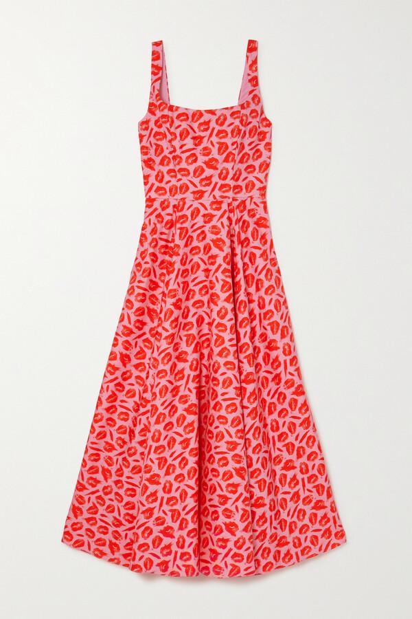 Thumbnail for your product : Brandon Maxwell Printed Silk Midi Dress - Pink